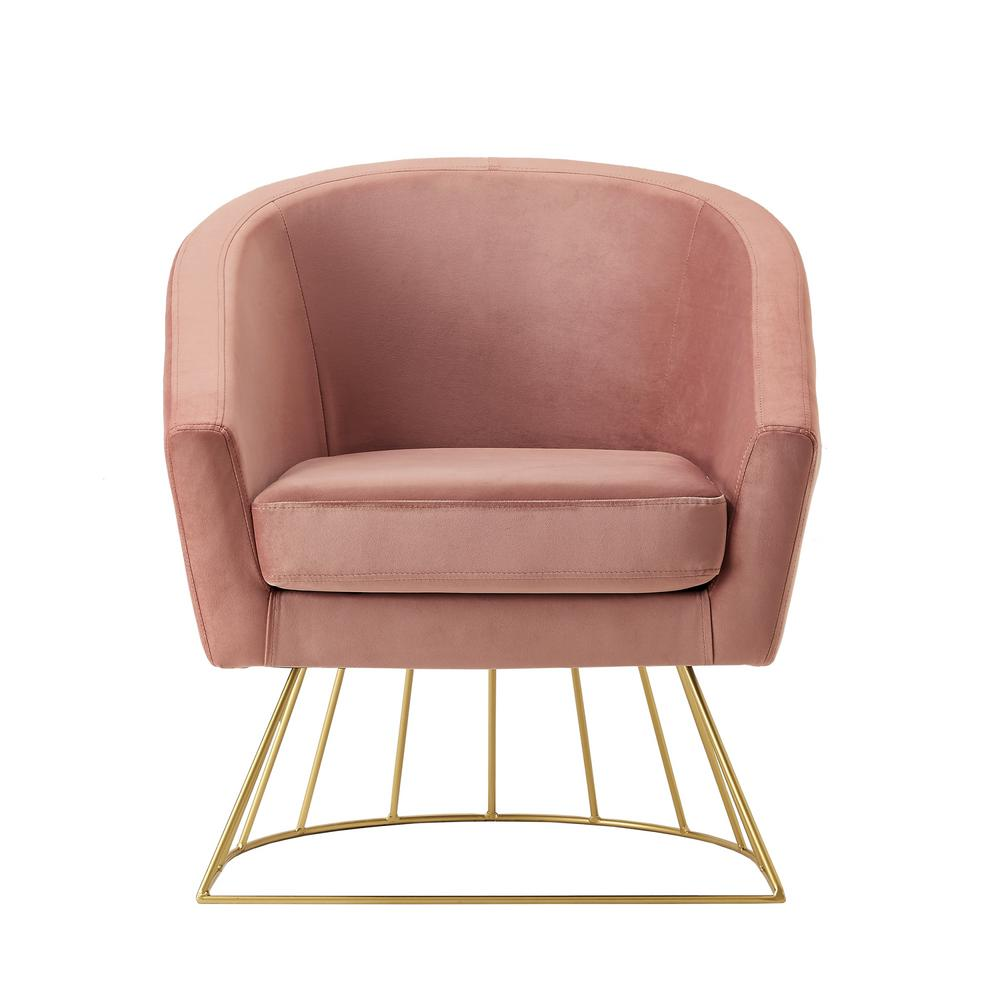 Esmeralda Velvet Blush/Gold Modern Contemporary Barrel Accent Chair with Metal