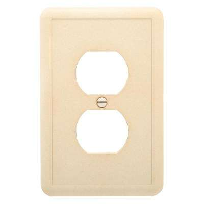 1-Duplex Outlet Plate, Travertine