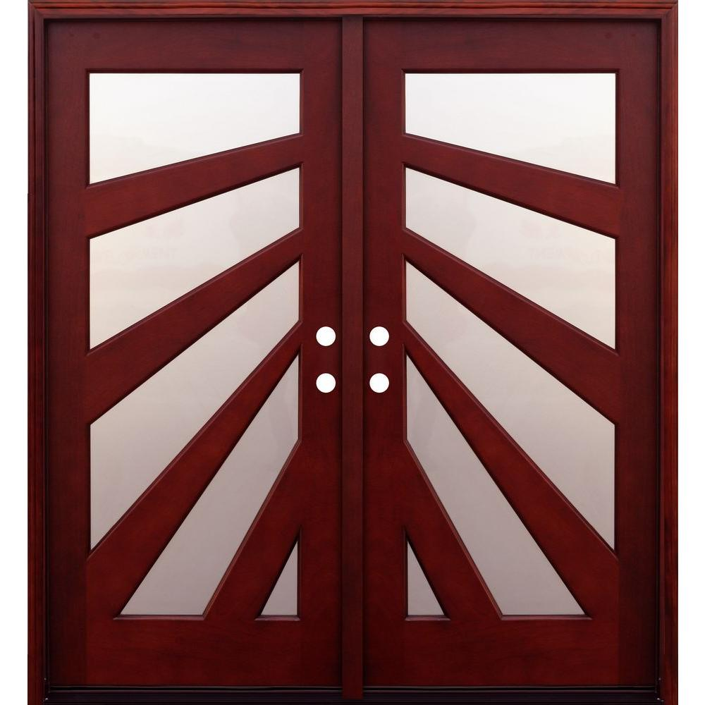 Pacific Entries 72 in. x 80 in. Contemporary 5 Lite Fan Stained Mahogany Double Wood Prehung Front Door with 6 in. Wall Series
