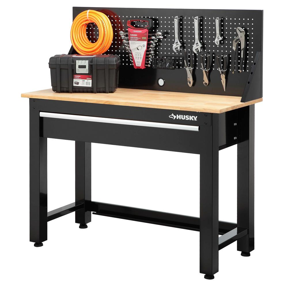 Husky 4 ft. Solid Wood Top Workbench with Pegboard Storage