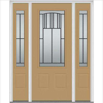 64 in. x 80 in. Madison Right-Hand Inswing 3/4-Lite Decorative Painted Fiberglass Smooth Prehung Front Door w/ Sidelites