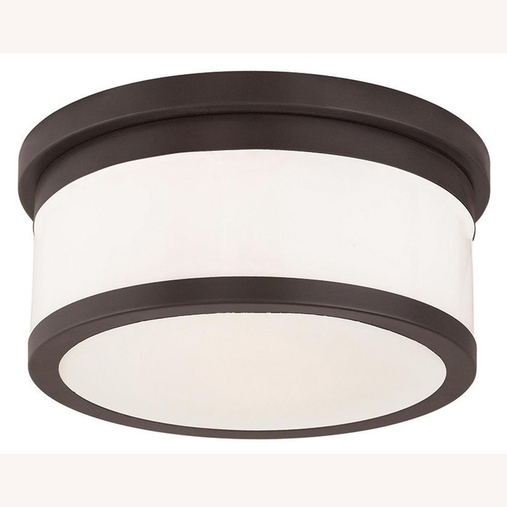 Livex Lighting 73955-07 Bronze Flush Mount with White Alabaster Glass