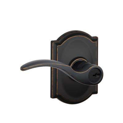 St. Annes Aged Bronze Keyed Entry Door Lever with Camelot Trim