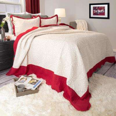 Lydia Embroidered Red Polyester King Quilt