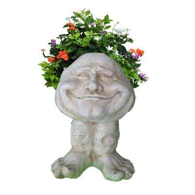 12 in. Antique White Papa John the Muggly Statue Face Planter Holds 4 in. Pot
