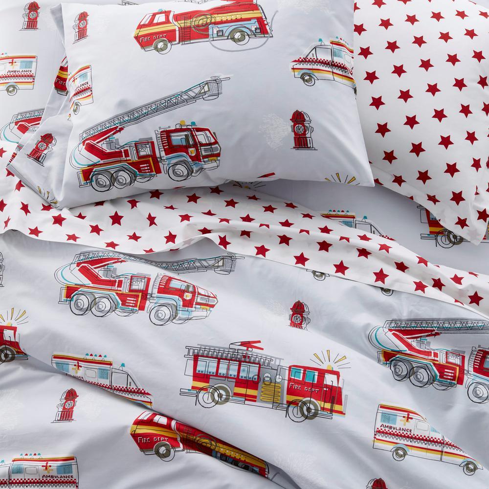Firetrucks Graphic Organic Cotton Percale Duvet Cover