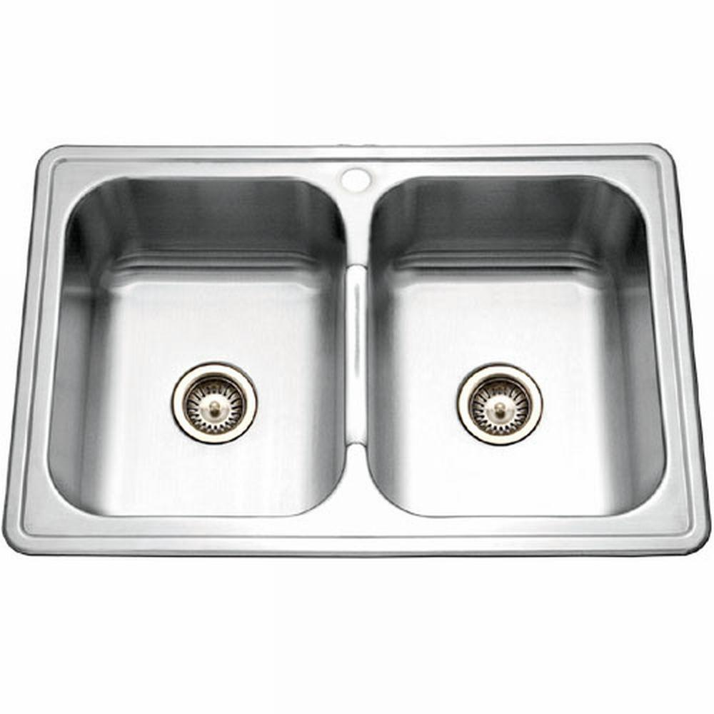HOUZER Premiere Gourmet Series Drop-In Stainless Steel 33x22x9 1-Hole Double Basin Kitchen Sink-DISCONTINUED