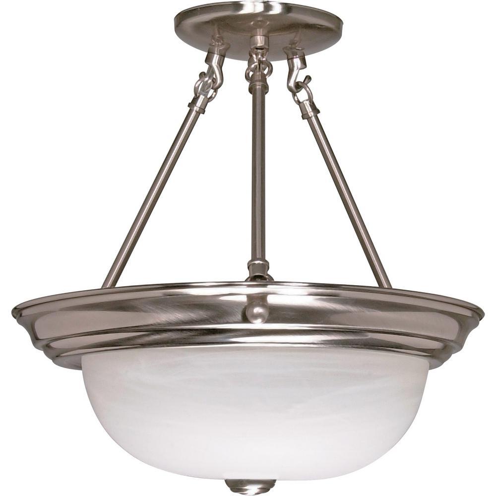 2light brushed nickel semiflush mount light - Semi Flush Mount Lighting