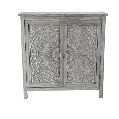 Mettalic Gray 2-Door Wood Flourished Cabinet