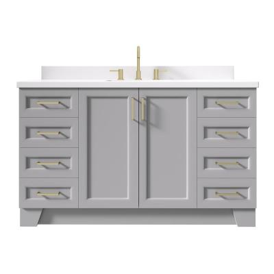 Taylor 61 in. W x 22 in. D Bath Vanity in Grey with Quartz Vanity Top in White with White Basin