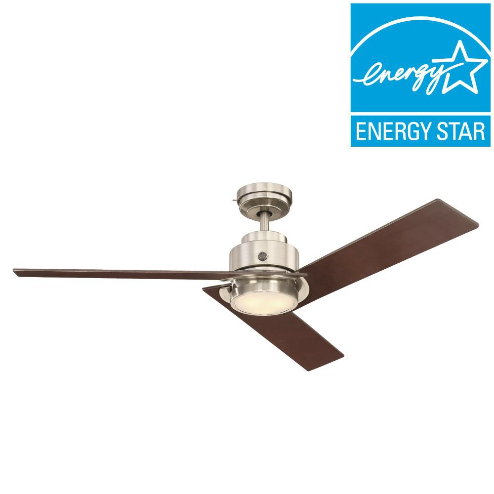 Daelyn 54 in. LED Indoor Brushed Nickel Ceiling Fan with SkyPlug