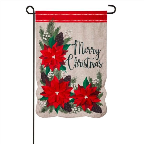 Evergreen 12 5 In X 18 In Christmas Poinsettia Floral Garden Linen Flag 14l9313 The Home Depot