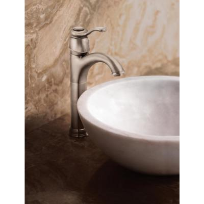 Kingsley Single Hole Single-Handle Low-Arc Bathroom Faucet in Brushed Nickel with Metal Drain Assembly