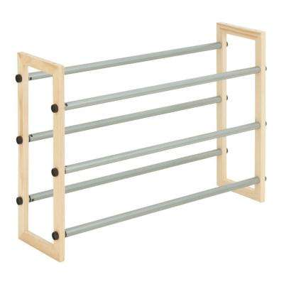 3 Tier Expandable Wood And Metal Shoe Rack