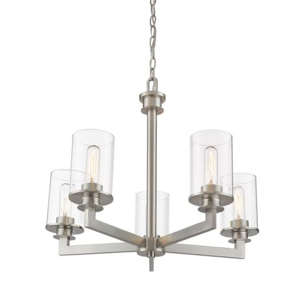 Filament Design 5 Light Brushed Nickel Chandelier With Glass Shades Hd Te83859 The Home Depot