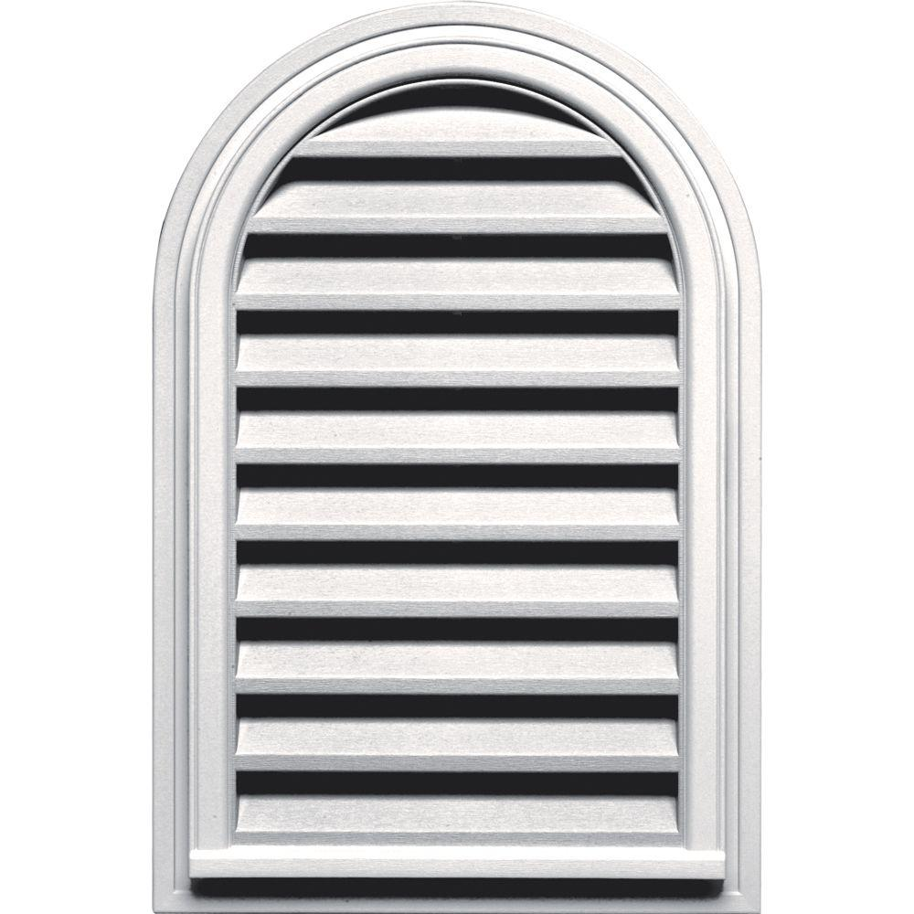 Builders Edge 22 in. x 32 in. Round Top Gable Vent in Bright White