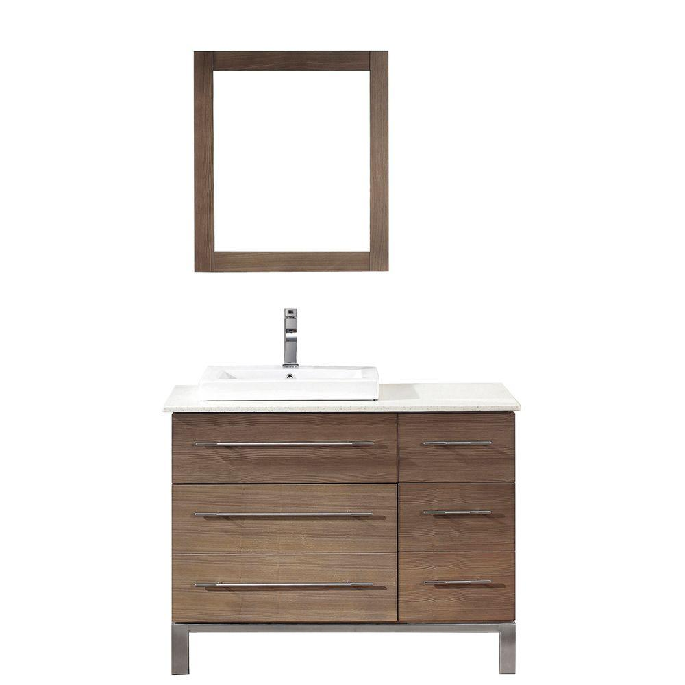 ART BATHE Ginza 42 in. Vanity in Smoked Ash with Nougat Quartz Vanity Top in Smoked Ash and Mirror