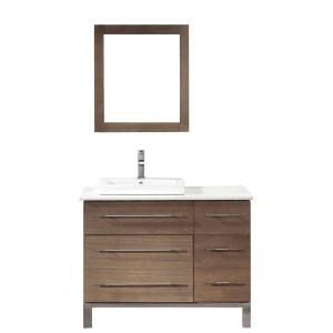 Ginza 42 in. Vanity in Smoked Ash with Nougat Quartz Vanity Top in Smoked Ash and Mirror
