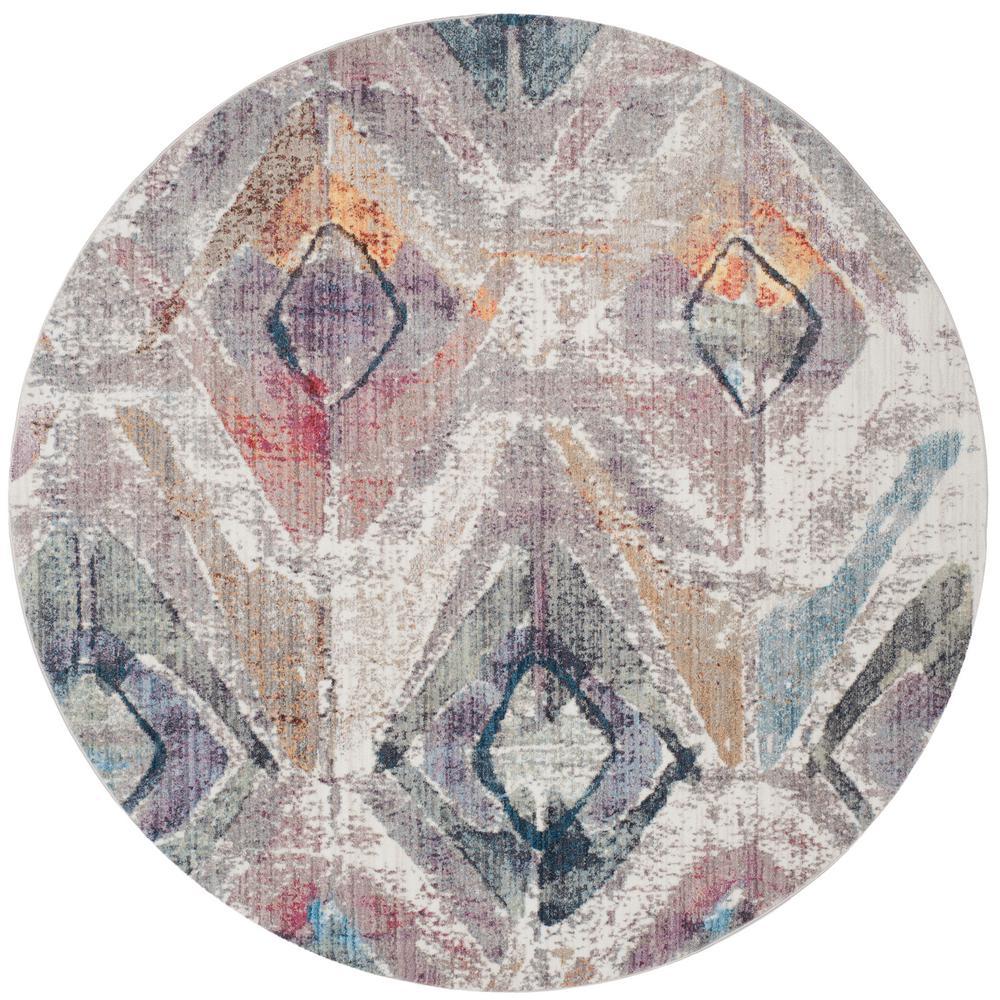 Safavieh Bristol Lavender/Light Gray 7 ft. x 7 ft. Round Area Rug
