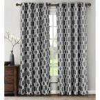 Semi-Opaque Wesley Linen Blend Extra Wide 84 in. L Grommet Curtain Panel Pair, Charcoal (Set of 2)