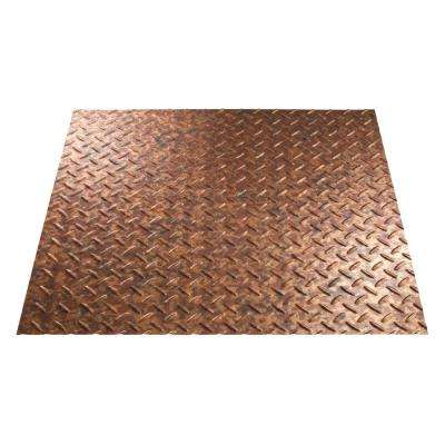 Diamond Plate 96 in. x 48 in. Vinyl Decorative Wall Panel in Cracked Copper