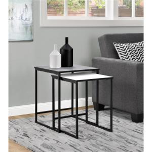 Altra Furniture Stewart Gray and White 2-Piece Nesting End Table by