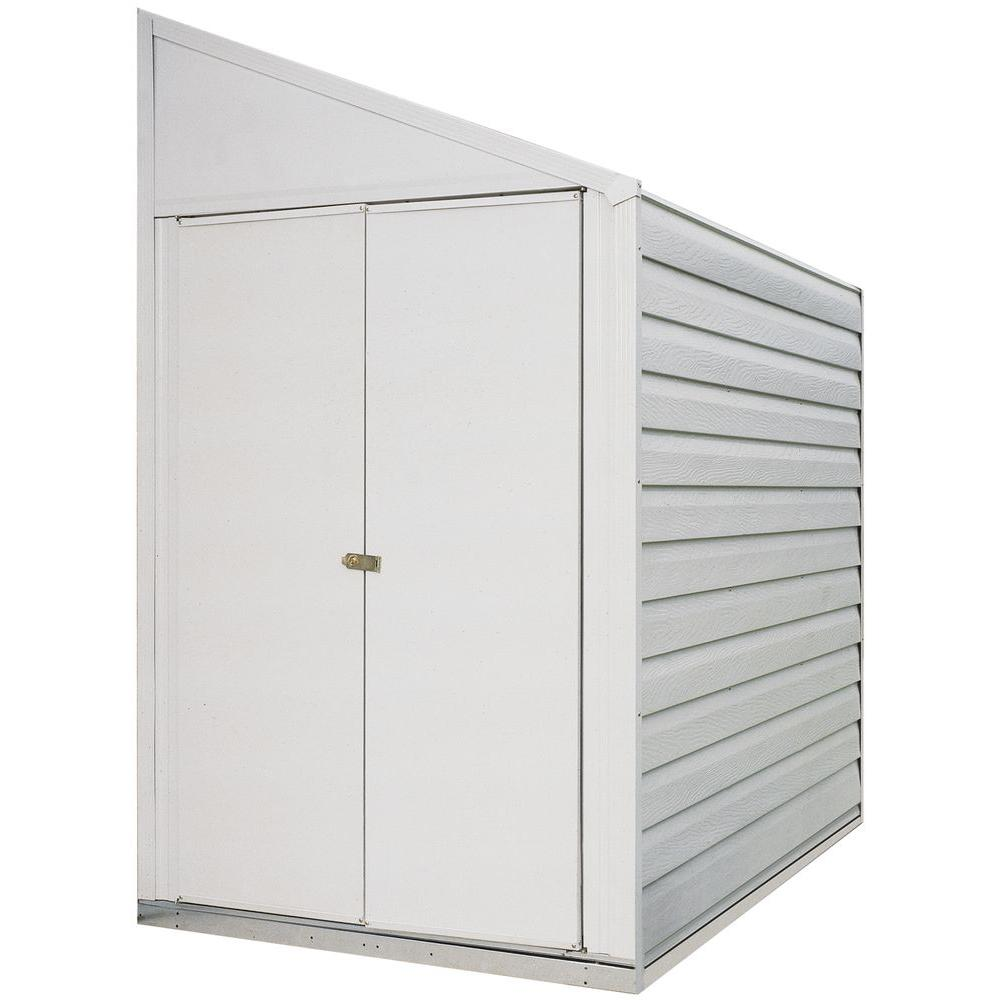 Arrow Yard Saver 4 Ft W X 10 Ft D White Galvanized Metal Storage Shed Ys410 The Home Depot