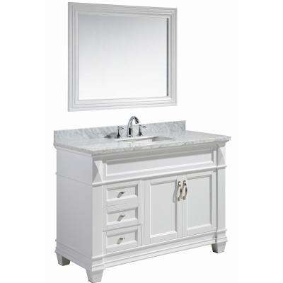 Hudson 48 in. W x 22 in. D x 34 in. H Vanity in White with Marble Vanity Top in Carrara White, Basin and Mirror