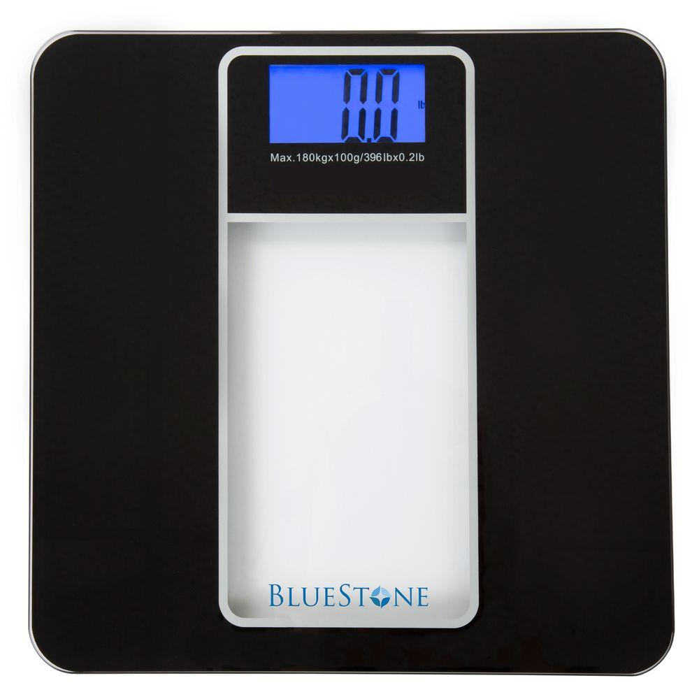 Bluestone Digital LCD Display Glass Bathroom Scale In Black