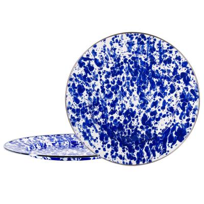 12.5 in. Cobalt Swirl Enamelware Round Chargers (Set of 2)