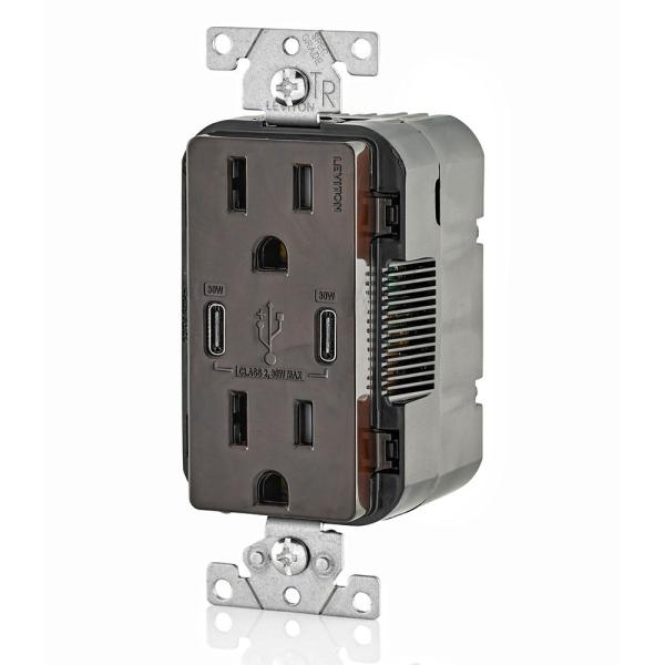 PD In-Wall Charger with 15 Amp 125 Volt Tamper-Resistant Outlet Leviton T5635-B USB Dual Type-C with Power Delivery Brown