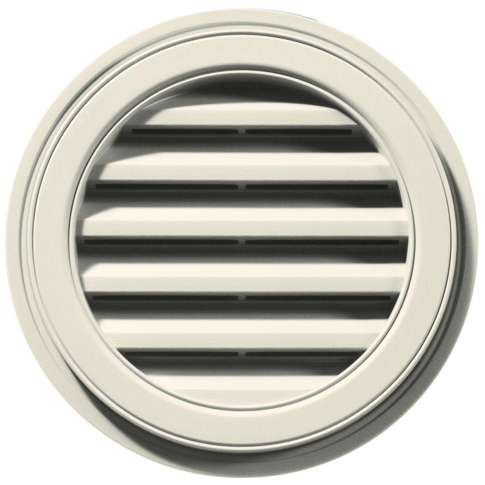 Builders Edge 18 in. Round Gable Vent in Linen