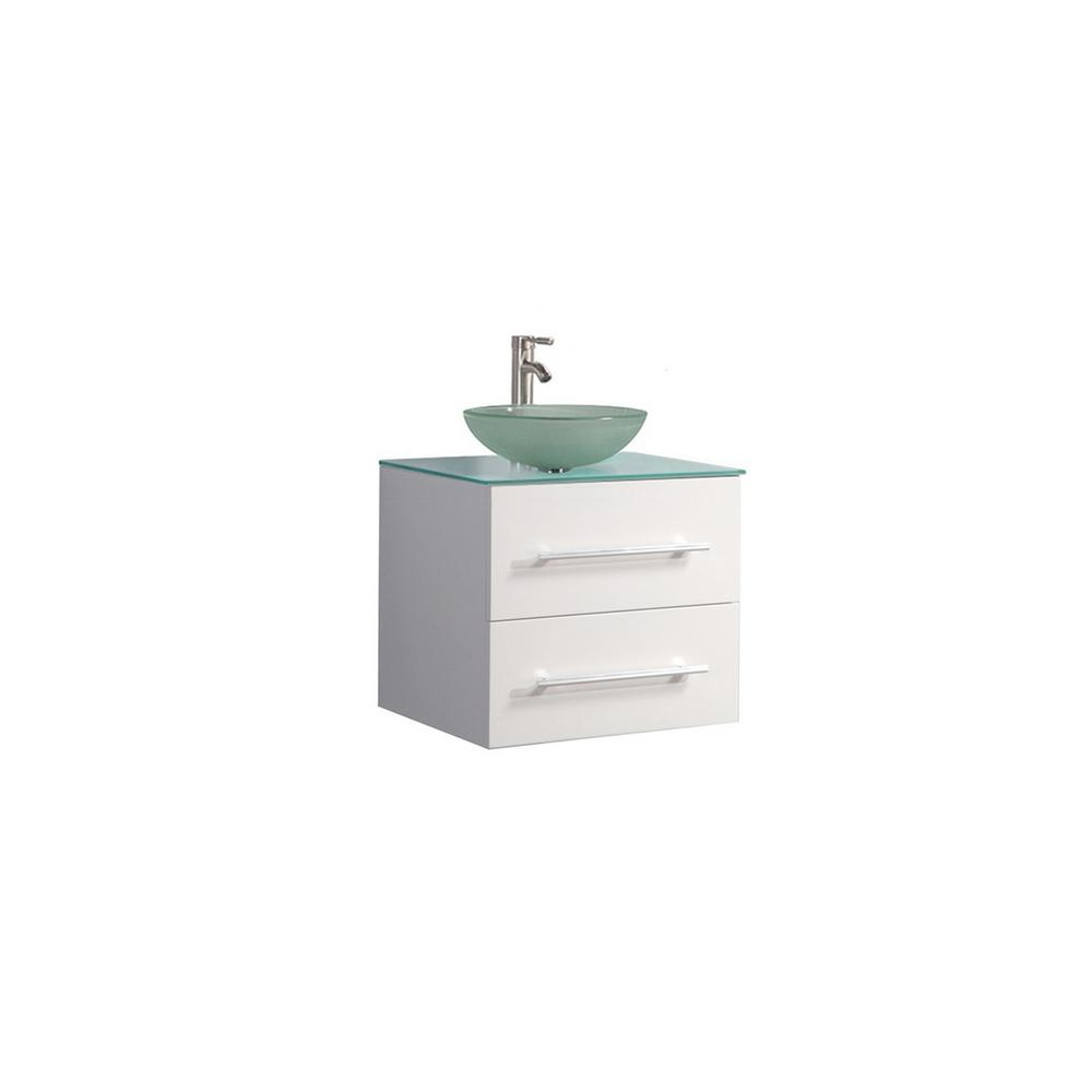 MTD Vanities Caen-WM 24 in. W x 20 in. D x 26 in. H Vanity in White with Glass Vanity Top in Glass with Glass Basin