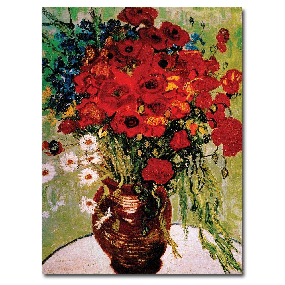 14 in. x 19 in. Daisies and Poppies Canvas Art