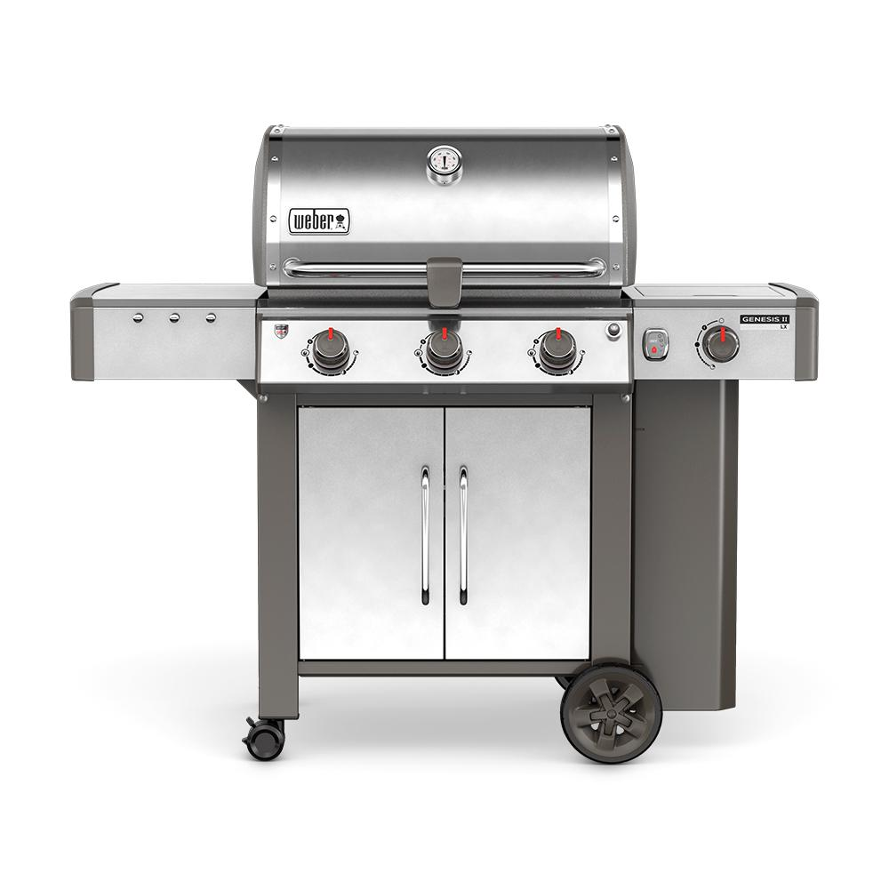 weber genesis ii lx s 340 3 burner propane gas grill in stainless steel with built in. Black Bedroom Furniture Sets. Home Design Ideas