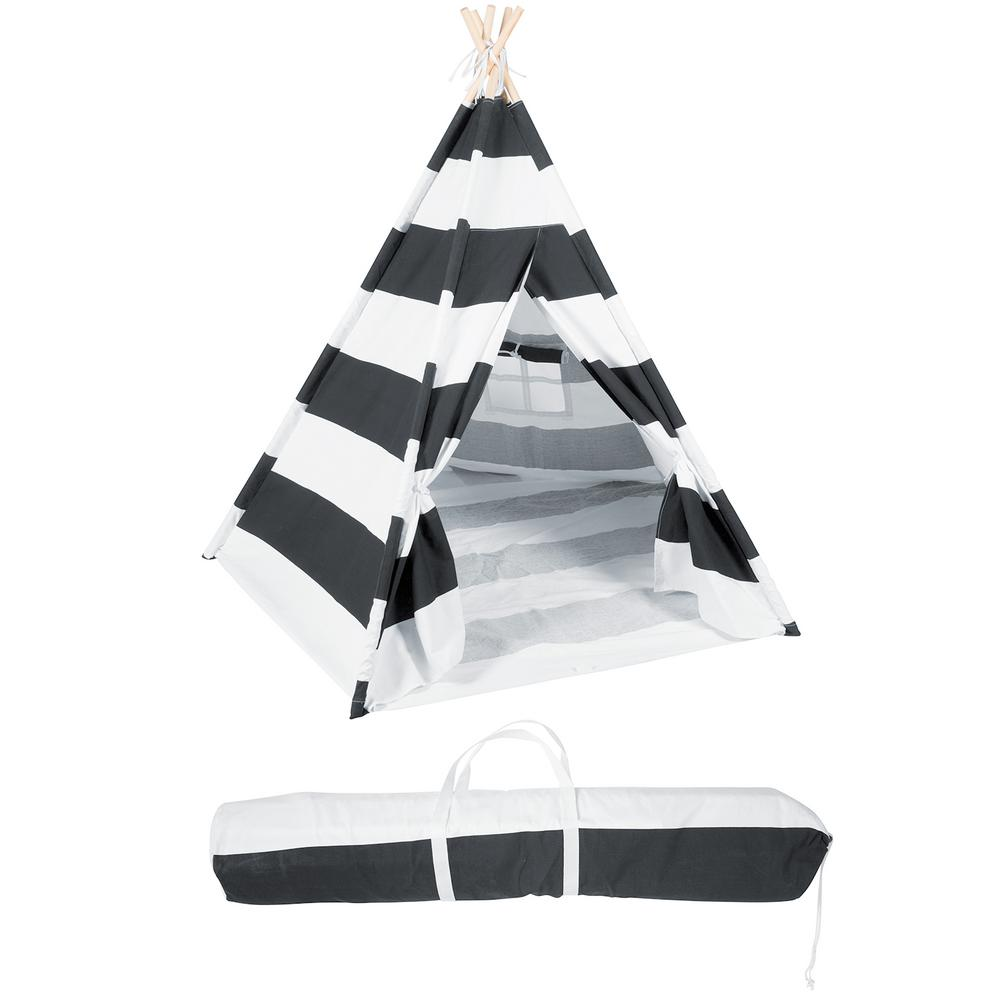 huge discount b5d8a be0ea Trademark Innovations 6 ft. Canvas Teepee With Carry Case - Playful Stripes  with Grayish-Black Stripe