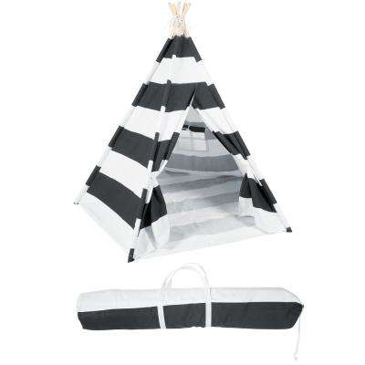 6 ft. Canvas Teepee With Carry Case - Playful Stripes with Grayish-Black Stripe