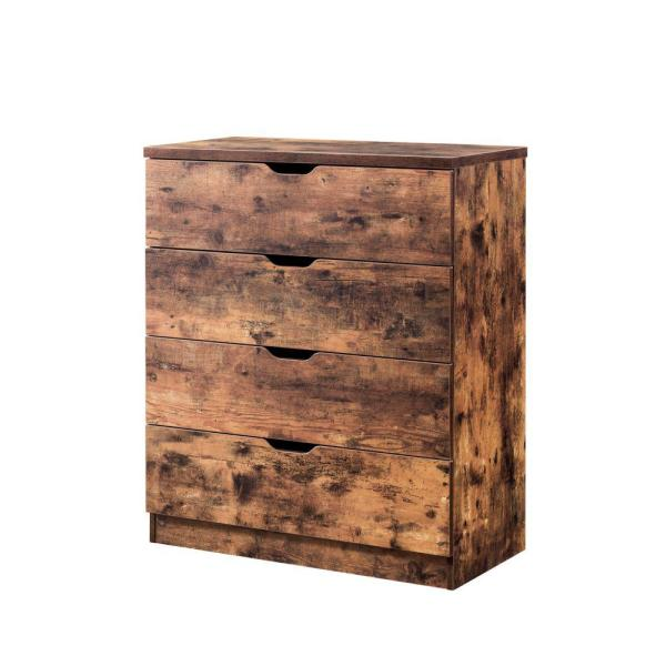 Rustic Style Brown 4-Drawer Wooden Utility Chest with Cutout Handles 15.5'' L x 30.75'' W x 36'' H