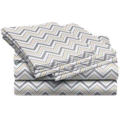 Jill Morgan Fashion Printed Chevron Straw Microfiber California King Sheet Set (4-Piece)