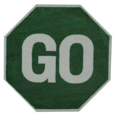 Go Sign Multi Colored 3 ft. x 3 ft. Area Rug