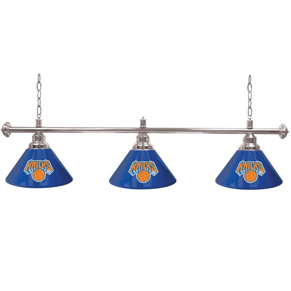 Trademark Global New York Knicks NBA 60 in. Three Shade Gold Hanging Billiard Lamp