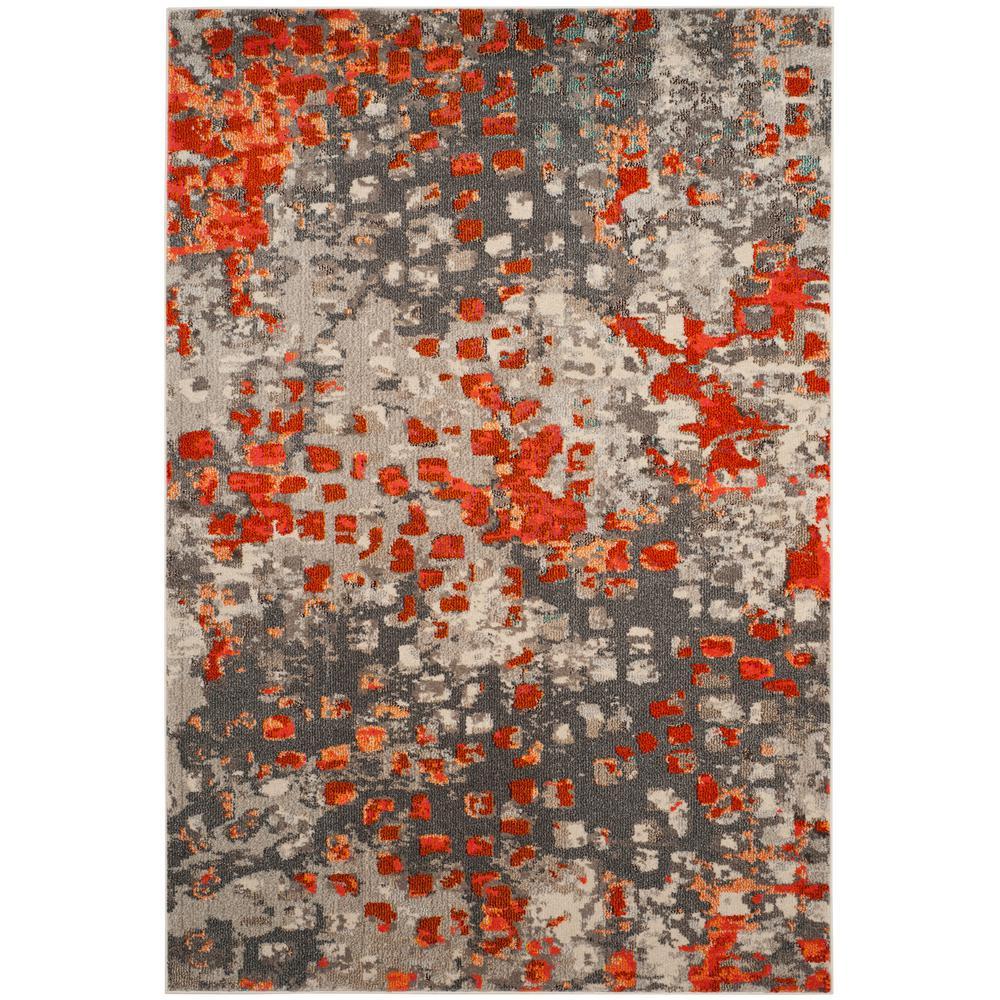 Monaco Gray/Orange 6 ft. 7 in. x 9 ft. 2 in. Area Rug