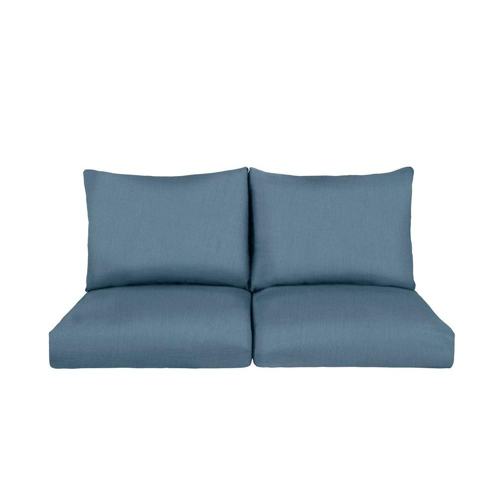 Brown jordan marquis replacement outdoor loveseat cushion in denim m12110 vc6 the home depot Denim loveseat