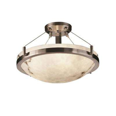 LumenAria Ring 21 in. 3-Light Brushed Nickel Semi-Flush Mount with Faux Alabaster Shade