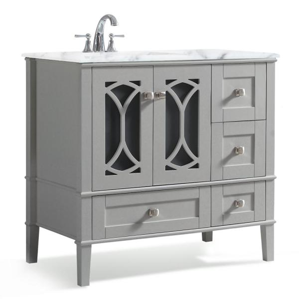 simpli home paige 36 in. left offset bath vanity in warm