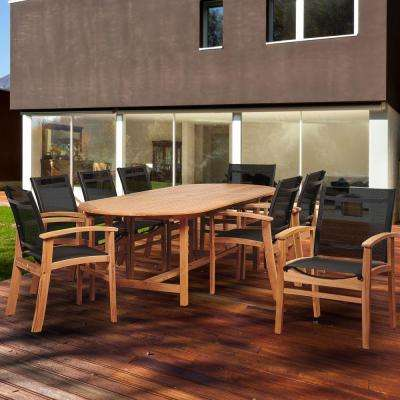 Amazina Elliot 9-Piece Teak Extendable Oval Patio Dining Set with Black Sling Chairs