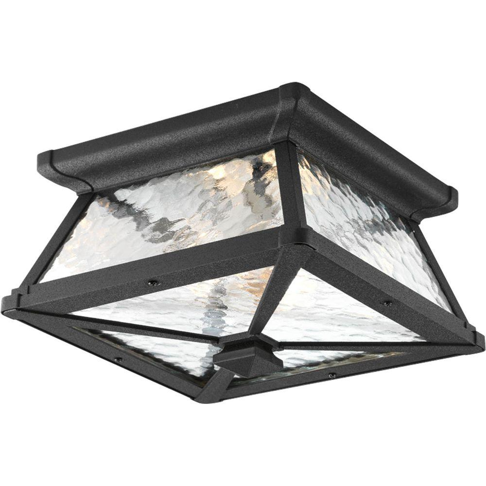Outdoor ceiling lighting outdoor lighting the home depot mac collection 2 light black outdoor flushmount arubaitofo Choice Image