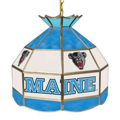 University of Maine 16 in. Gold Hanging Tiffany Style Billiard Lamp