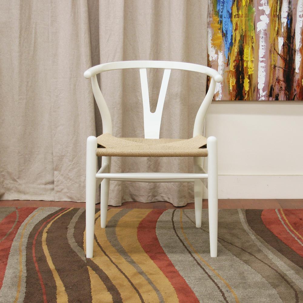Wishbone Mid-Century 2-Piece White Wood Chair Set