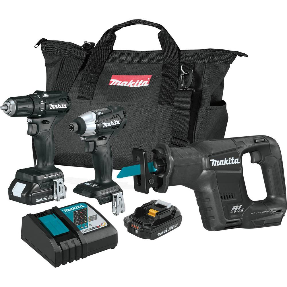 Makita 18 Volt Lxt Lithium Ion Sub Compact Brushless Cordless 3 Piece Combo Kit Driver Drill
